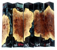 Red Mallee Burl Hybrid Pen Blanks #181-185RR