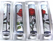 Stained Glass Red Rose Pen Blanks - Sierra Pen Kits