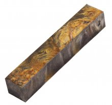 "Maple Burl Double Dyed and Stabilized Pen Blank - 7/8"" Black & Gold"