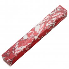 Penn-Stone Pen Blank - Red & White Marble