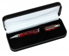 Black Velveteen Pen Box. Open view with pen.