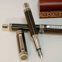 Emperor Fountain Pen Kit - Rhodium & Black Ti