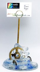 Steampunk Art Glass Pen & Business Card Holder by Neil & C. Lyon - Large #105