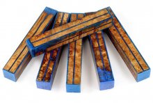Resin Stripes Blank - Maple Burl with Blue Stripes