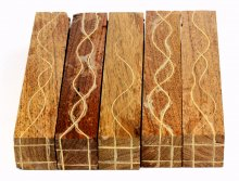 Segmented Serpentine pen blanks - Mesquite With Maple Veneers