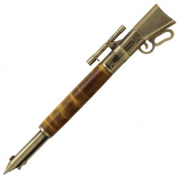 Lever Action Rifle Click Pen Kit - Antique Brass With Metal Gunstock (PSI)