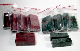 Christmas Pack Cigar Pen Blanks -  Drilled & Tubed 8 Pack (4 Red 4 Green)