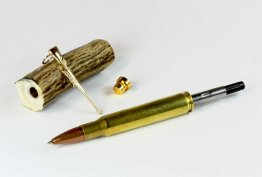 30-06 Springfield (Real Shell) Pen Kit - Drilled Antler Blank Combo
