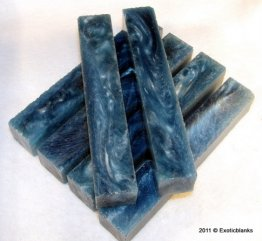 Regal Blue & Silver Rhino Plastic Pen Blanks