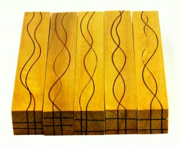 Segmented Serpentine Blanks - Yellowheart With Bloodwood Veneers