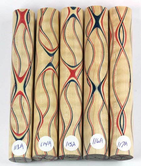 Three Veneer Serpentine pen blank - Patriotic Curly Maple #113-117A