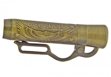 American Pride Lever Action Pen Kit - Antique Brass (Berea) close up