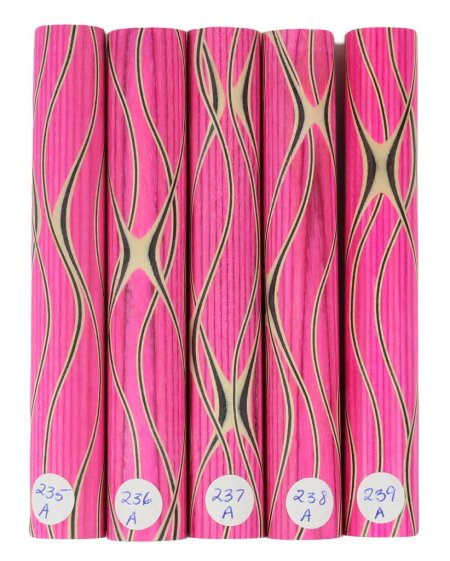 Three Veneer Serpentine pen blank - Stabilized Pink Spectraply #235-239A