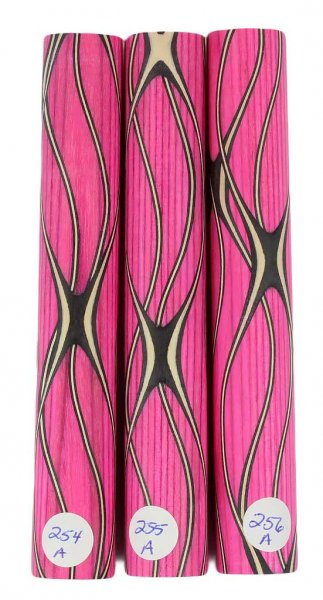 Three Veneer Serpentine pen blank - Stabilized Pink Spectraply #254-256A
