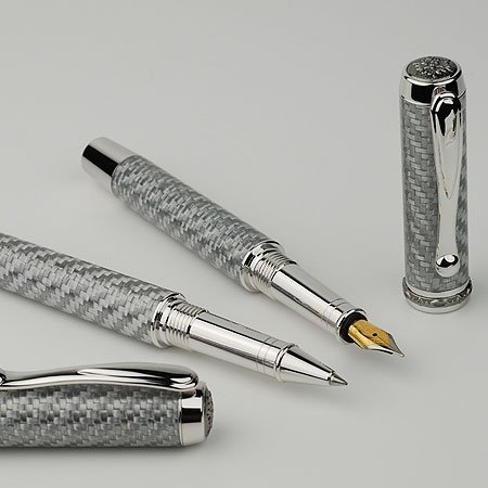 Jr Statesman Fountain Pen Kit - Rhodium & Black Ti (Non Postable) - open