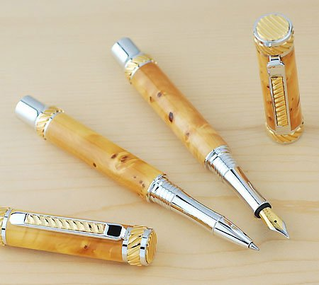 Jr. Abraham Rollerball Pen Kit - Rhodium & Gold 2
