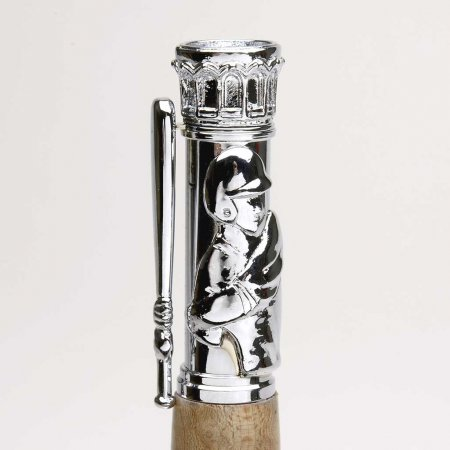 Baseball Pen Kit - Chrome. Clip Detail