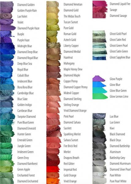 Black Diamond Pigments Color Chart