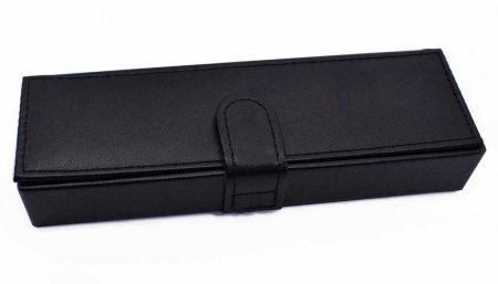 Double Black Leather Pen Box w/ Removable Insert. Closed.