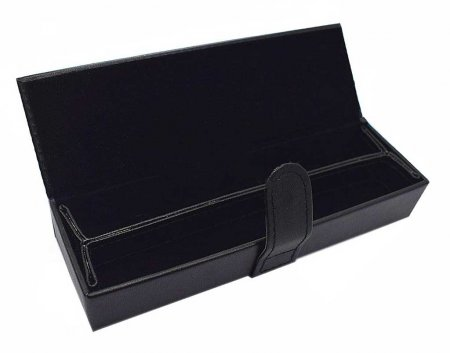 Double Black Leather Pen Box w/ Removable Insert. Open.