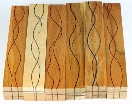 Segmented Serpentine pen blanks - Cherry With Walnut Veneers