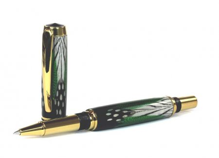 Caballero Rollerball Pen Kit - Titanium Gold/Black Chrome - open
