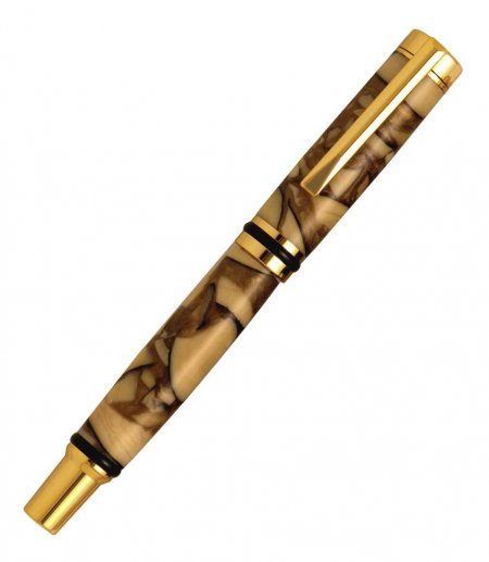 Cameron Rollerball Pen Kit - 24kt Gold. Closed