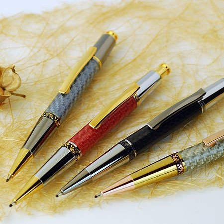 Aero Click Ballpoint Pen Kit - Chrome & 10K Gold. Group.