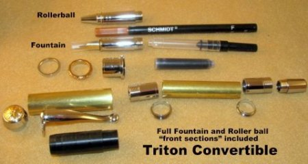 Triton Convertible Pen Kit - Chrome With Gold Accents. Parts