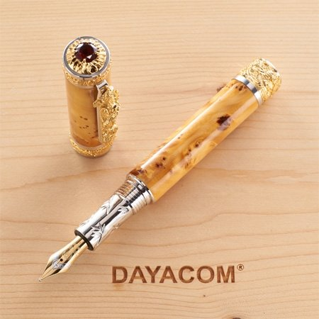 Oriental Dragon Fountain Pen Kit - Rhodium & 22K Gold full