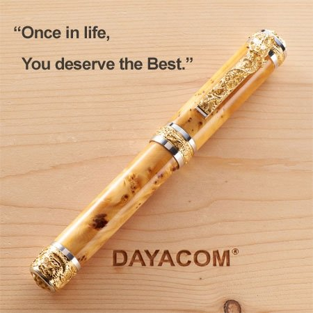 Oriental Dragon Fountain Pen Kit - Rhodium & 22K Gold full 3