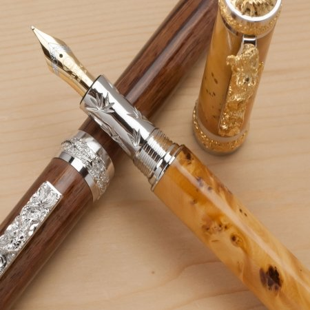 Oriental Dragon Fountain Pen Kit - Rhodium & 22K Gold