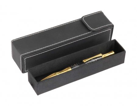 Drawer Style Black Leather Pen Box. Alt View 2