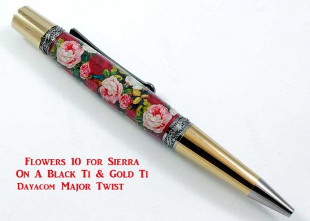 Flowers Pen Blank #10 on a pen kit