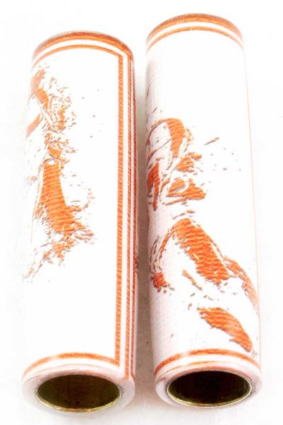 Football Pen Blank #12 - White & Orange. Alt View 2