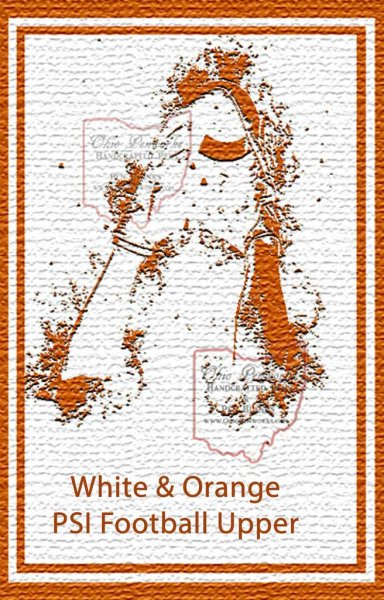 Football Pen Blank #12 - White & Orange. Flat View 3