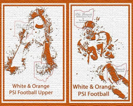 Football Pen Blank #12 - White & Orange. Flat 1