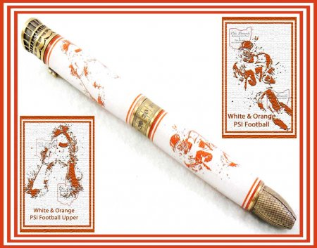 Football Pen Blank #12 - White & Orange. On a Pen Kit