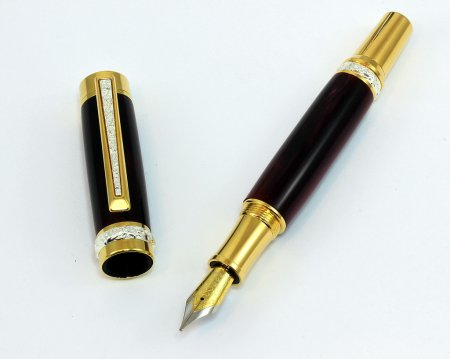 Cambridge Fountain Pen Kit - Ti-Gold With Stunning Silver Accents cap