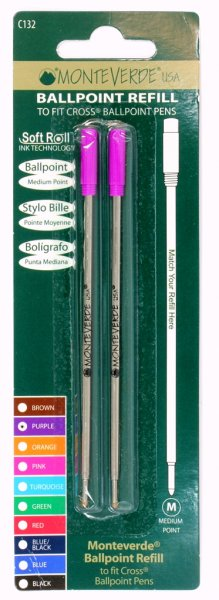 Monteverde Soft Roll Cross Style Refills - Rainbow Carded  (Choose From 7 Colors!)