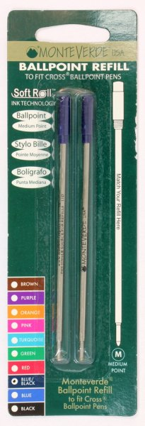 Monteverde Soft Roll Cross Style Refills - Blue-Black Carded (Medium Only)