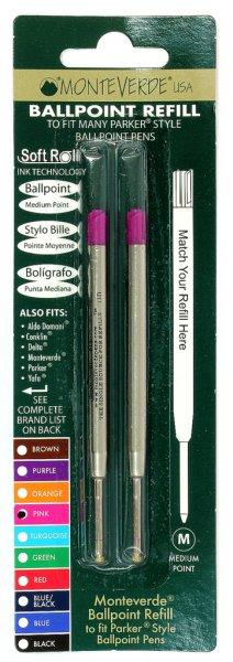 Monteverde Soft Roll Parker Style Refills - Rainbow Carded  (Choose From 7 Colors!)