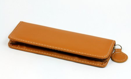 Two Pen Leatherette Case - Tan