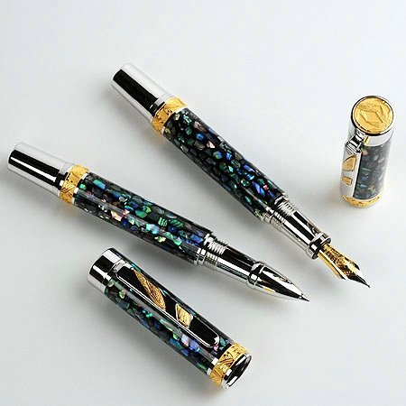 Imperial Fountain Pen Kit - Rhodium & 22KT Gold - open 2