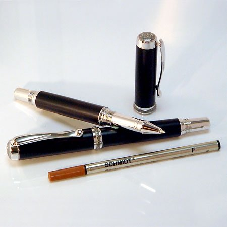 Jr Statesman Rollerball Pen Kit - Rhodium & Black Ti (Postable)