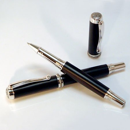 Jr Statesman Rollerball Pen Kit - Rhodium & Black Ti (Postable) - open