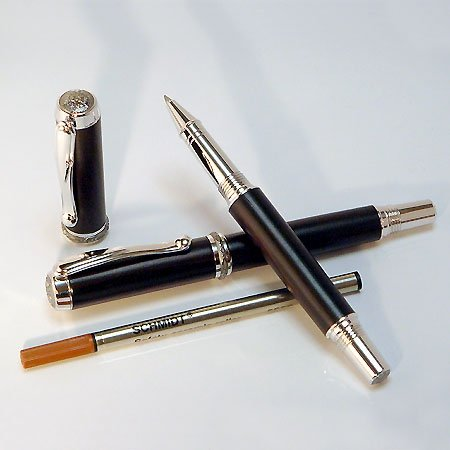 Jr Statesman Rollerball Pen Kit - Rhodium & Black Ti (Postable) - open 2