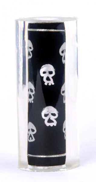 Thread Art Pen Blanks - Hand Painted Silver Skulls. Reverse Side.