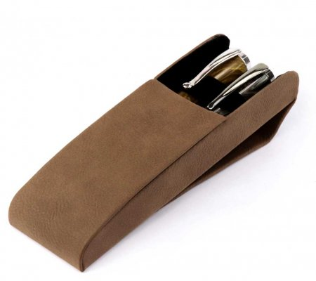 Leatherette Two Pen Case - Brown. Open View.