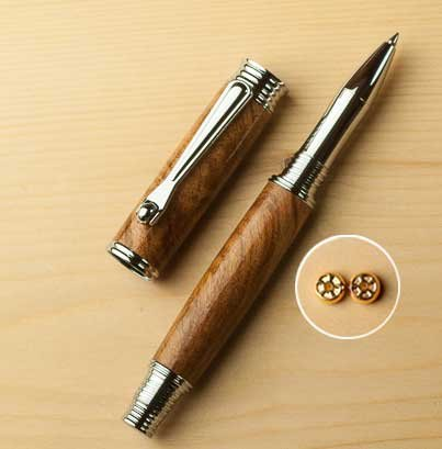 Jr. Morgan Fountain Pen Kit - Chrome - open